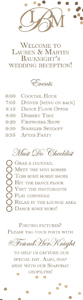 Wayne Martin Bauknight Jr and Lauren Greaves wedding menu 704-562-4790