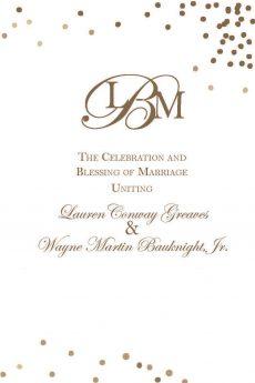 Wayne Martin Bauknight Jr and Lauren Greaves wedding program 1 704-562-4790